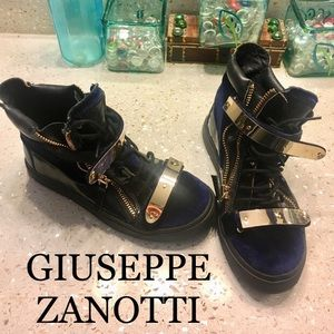 Giuseppe Zanotti Coby Gold Bar High Top Sneakers